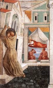 Sen papieża Innocentego. Św. Franciszek podtrzymuje upadającą-Bazylikę Św. Jana Chrzciciela na Lateranie - fragment fresku pędzla Benicjusza Gozzoliego z kościoła w Montefalco