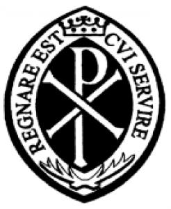 Znak archikonfraterni z zawołaniem Regnare est qui servire (łac.'ten panuje, kto służy')